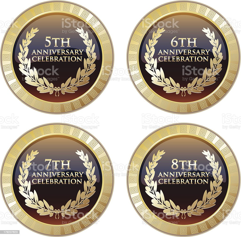 Anniversary Celebration Plaque Set vector art illustration