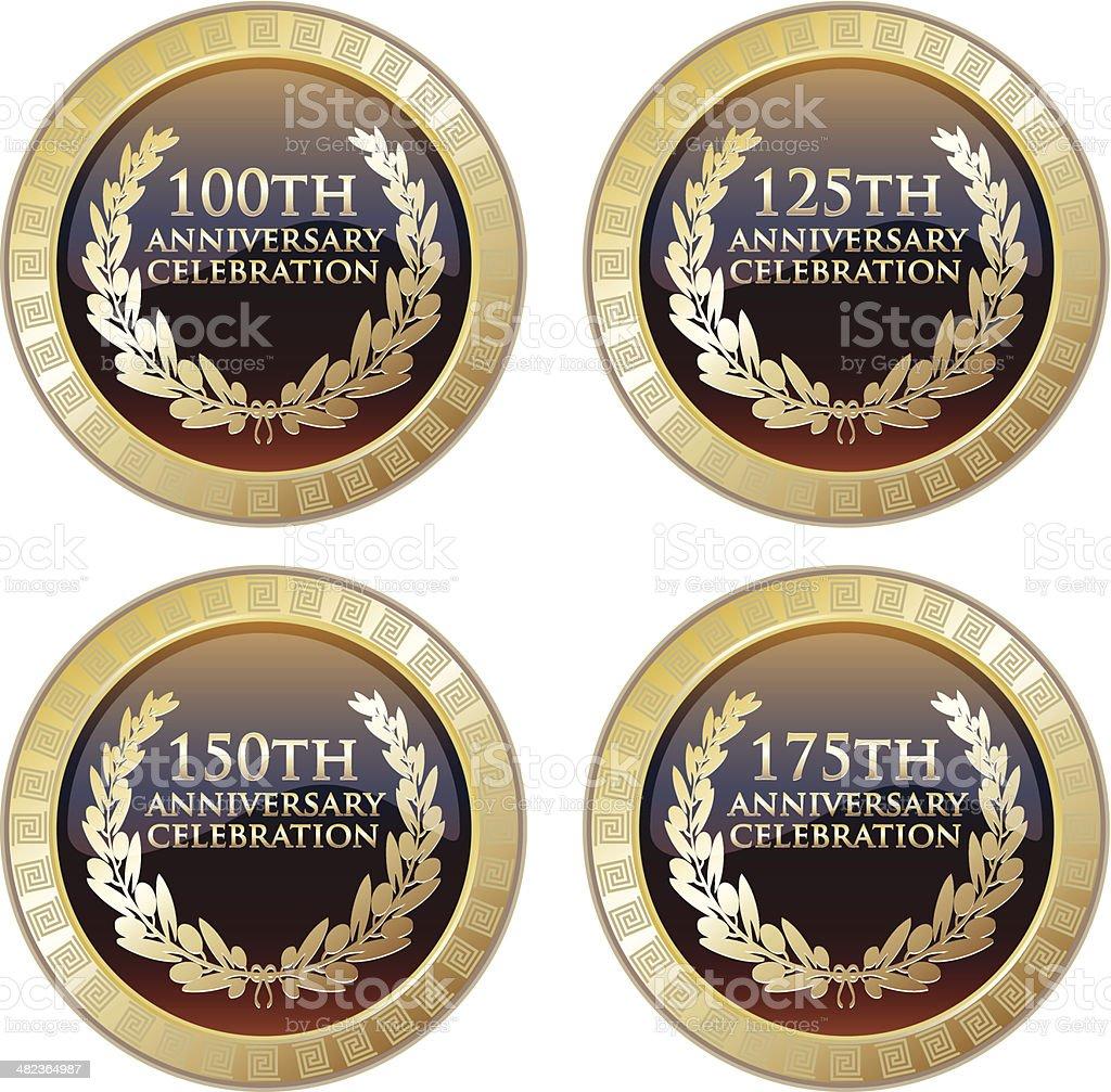 Anniversary Celebration Trophy Collection vector art illustration