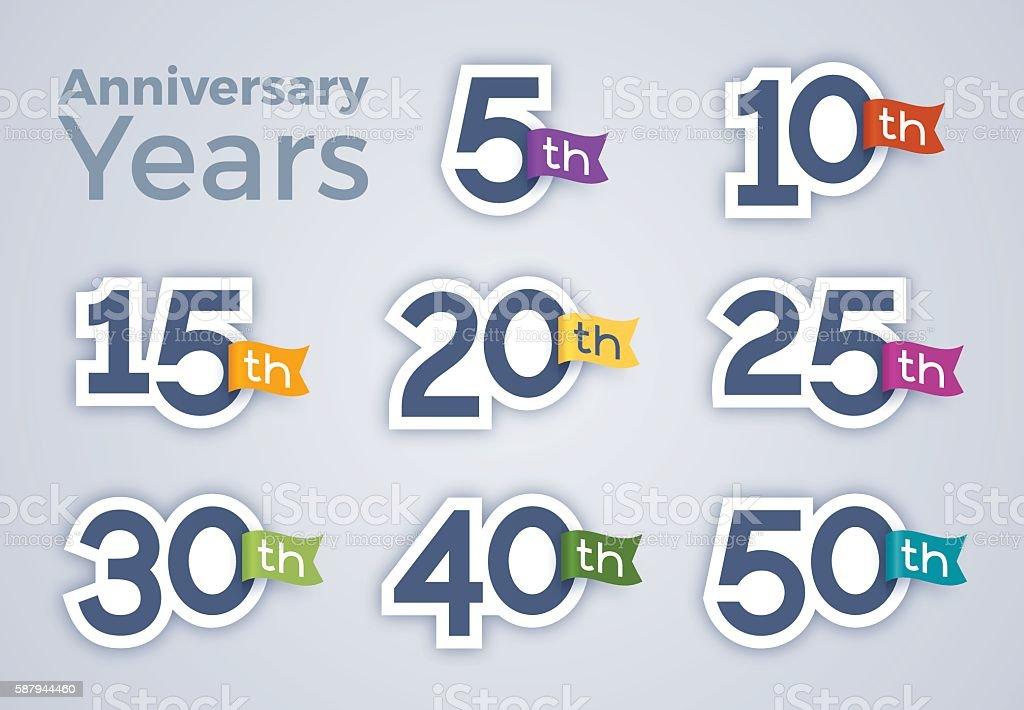 Anniversary Celebration Year Numbers vector art illustration