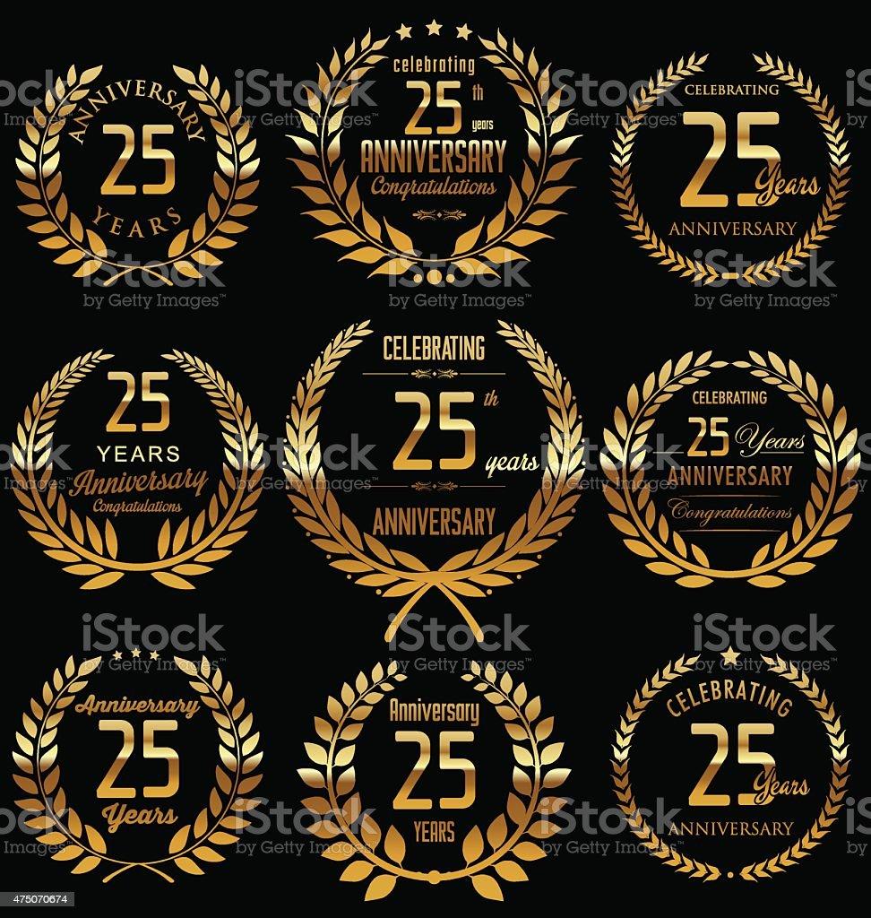 Anniversary design, 25 years vector art illustration