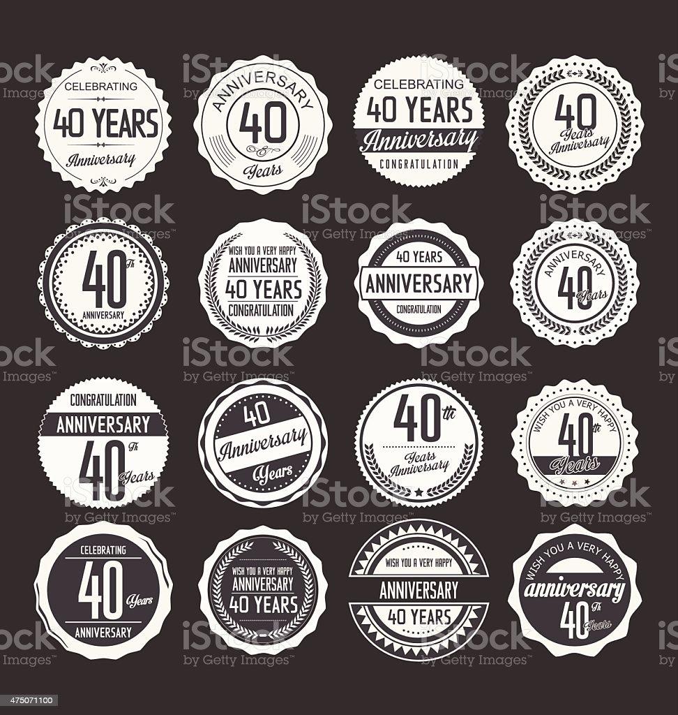 Anniversary design, 40 years vector art illustration