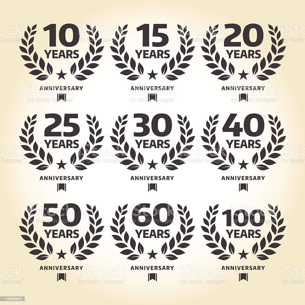 Anniversary emblem set vector art illustration