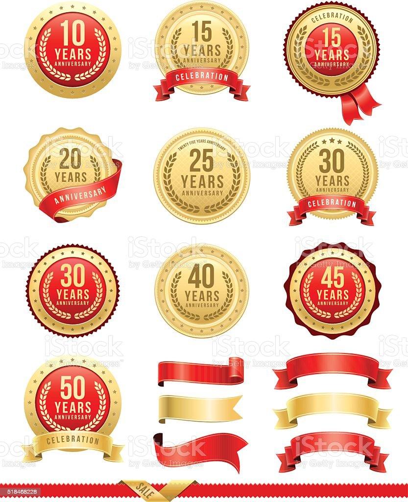 Anniversary Gold Badge Set vector art illustration