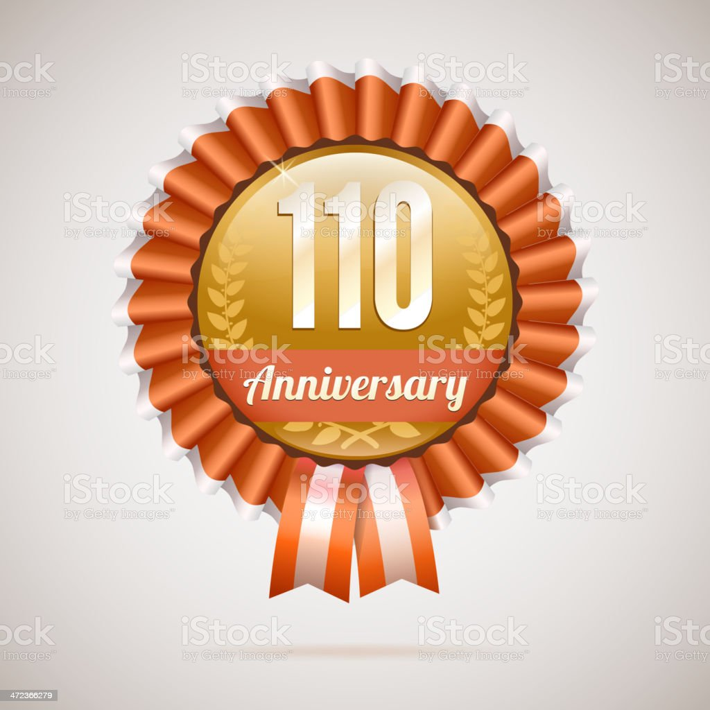 Anniversary golden badge with ribbons royalty-free stock vector art