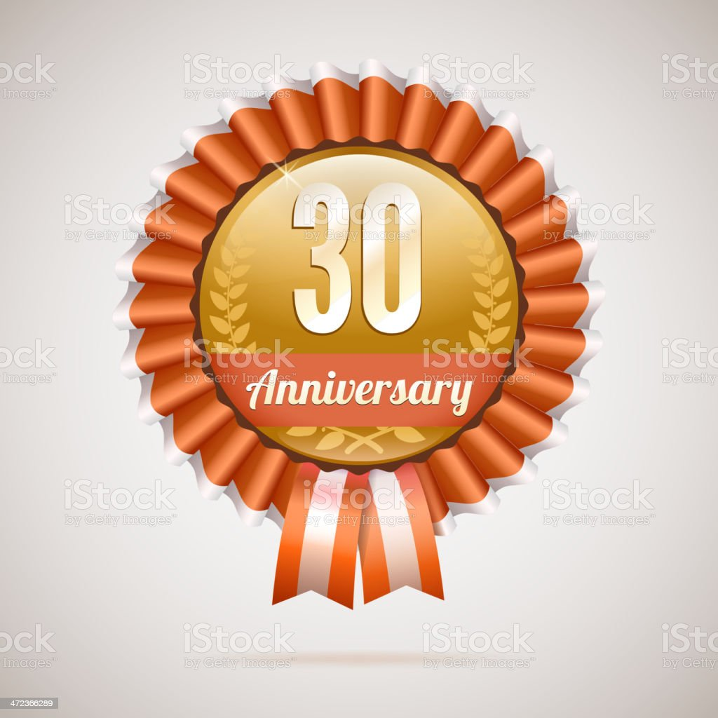 Anniversary golden badge with ribbons vector art illustration