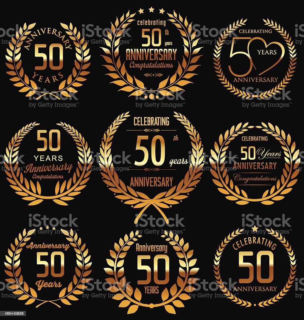 Anniversary golden laurel wreath design vector art illustration
