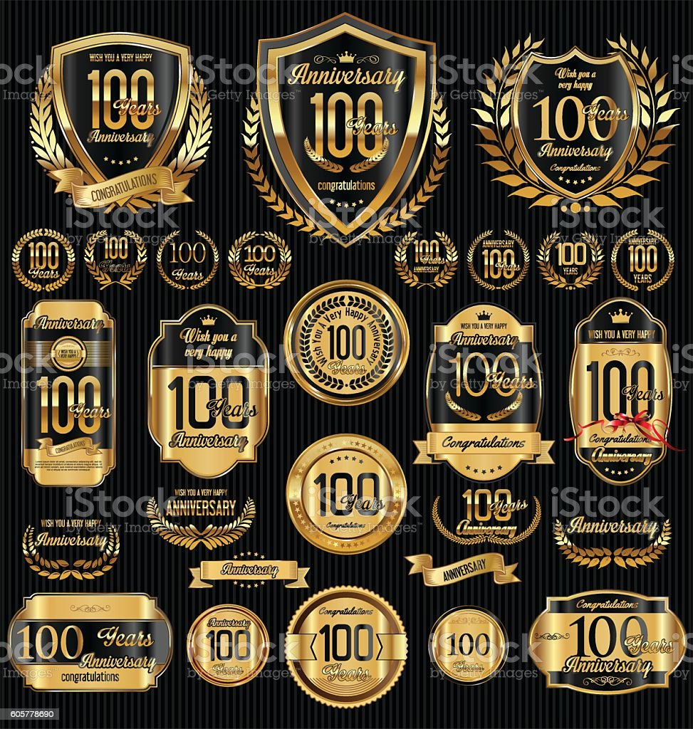 Anniversary golden shields laurel wreaths and badges collection vector art illustration