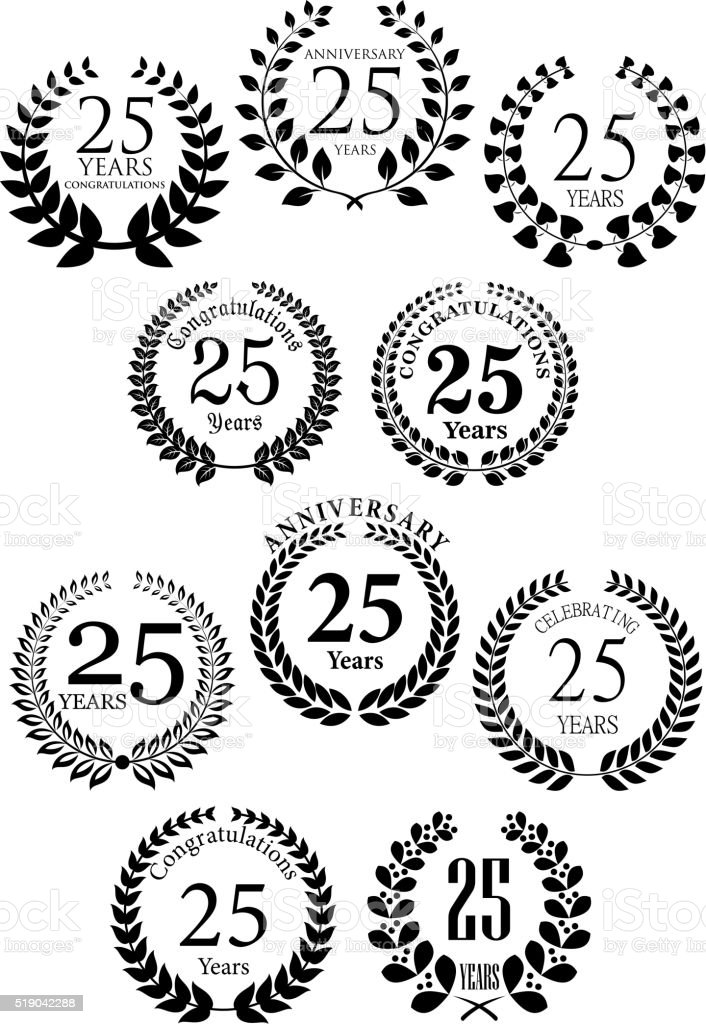 Anniversary heraldic laurel wreaths icons vector art illustration