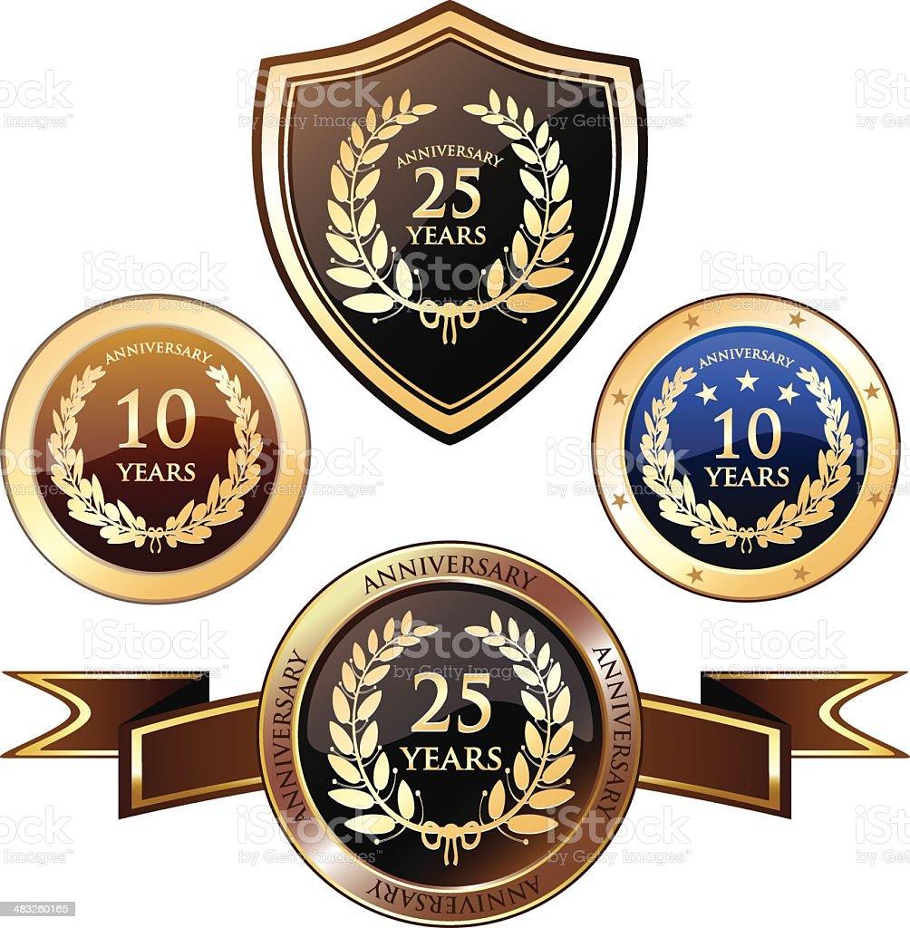 Anniversary Heraldry Badges vector art illustration