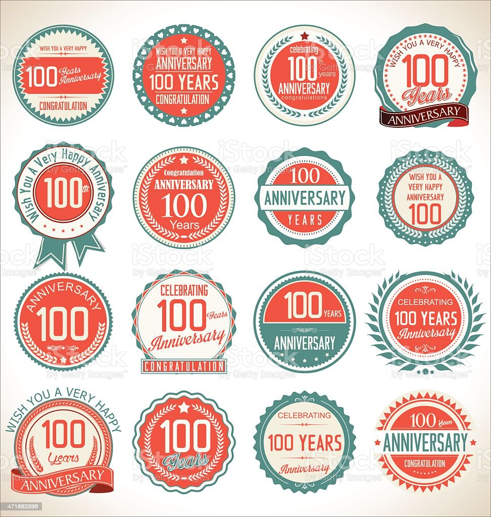 Anniversary label collection, 100 years vector art illustration