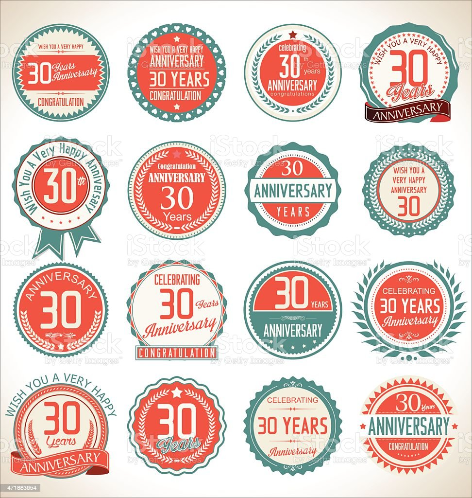 Anniversary label collection, 30 years vector art illustration