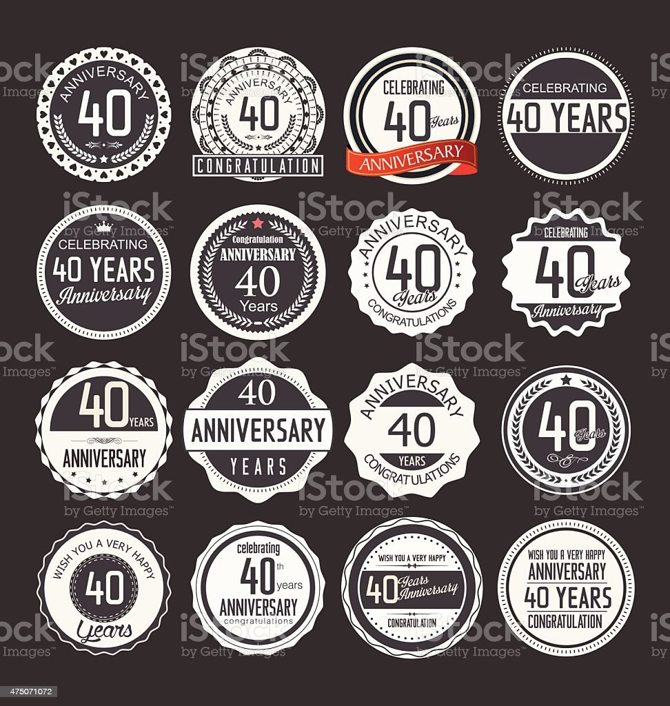 Anniversary label collection, 40 years vector art illustration