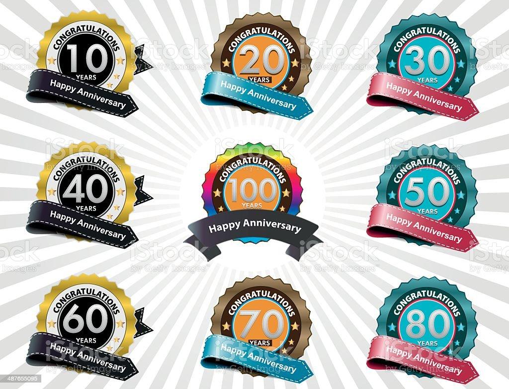 Anniversary labels vector art illustration