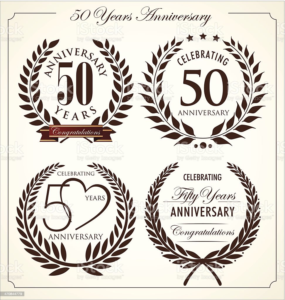 Anniversary laurel wreath, 50 years vector art illustration