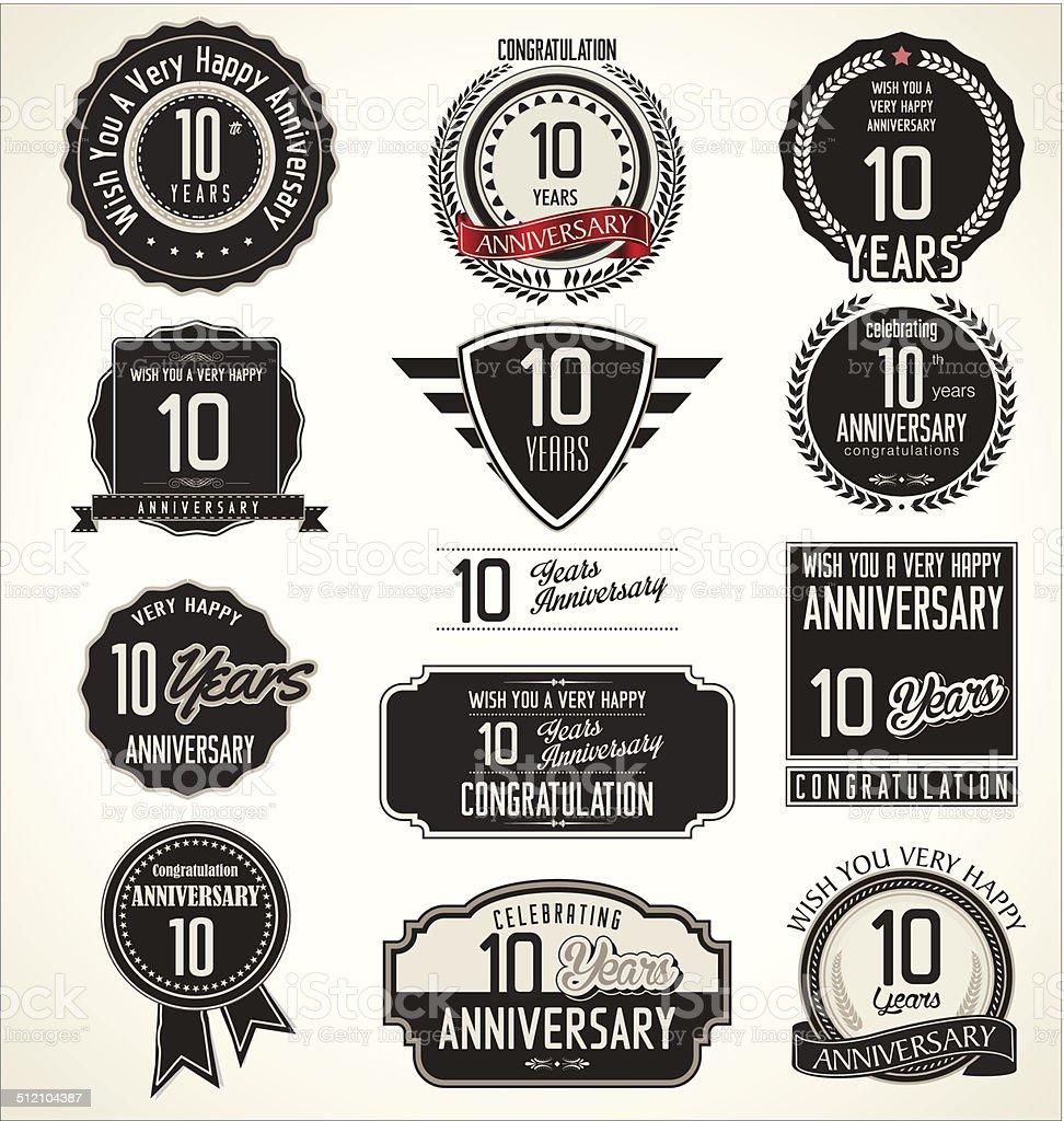 Anniversary laurel wreath retro labels, 10 years vector art illustration