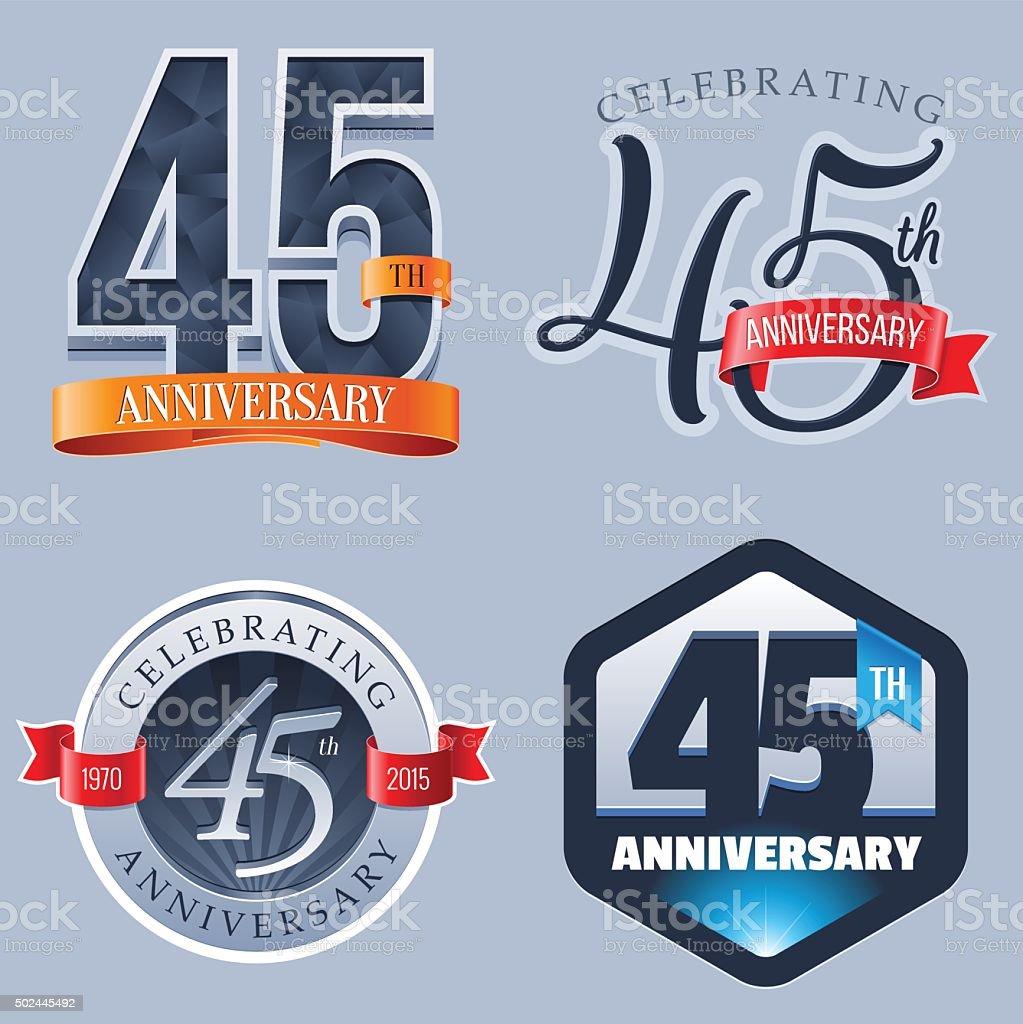 Anniversary Logo - 45 Years vector art illustration