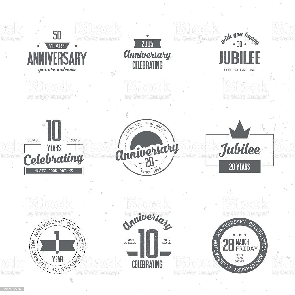 Anniversary logos set. vector art illustration