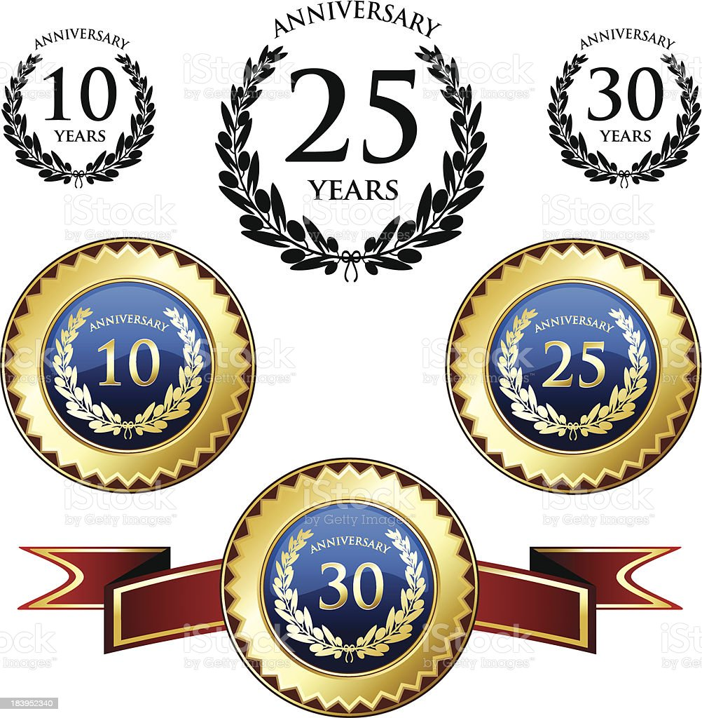 Anniversary Medals And Seals vector art illustration