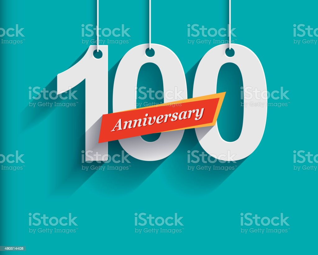 100 Anniversary numbers with ribbon. Flat origami style with lon vector art illustration