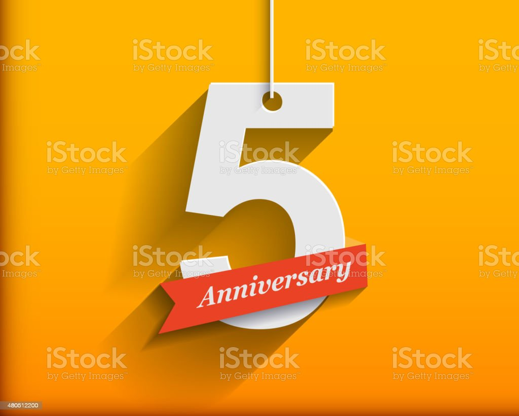 5 Anniversary numbers with ribbon. Flat origami style with long vector art illustration
