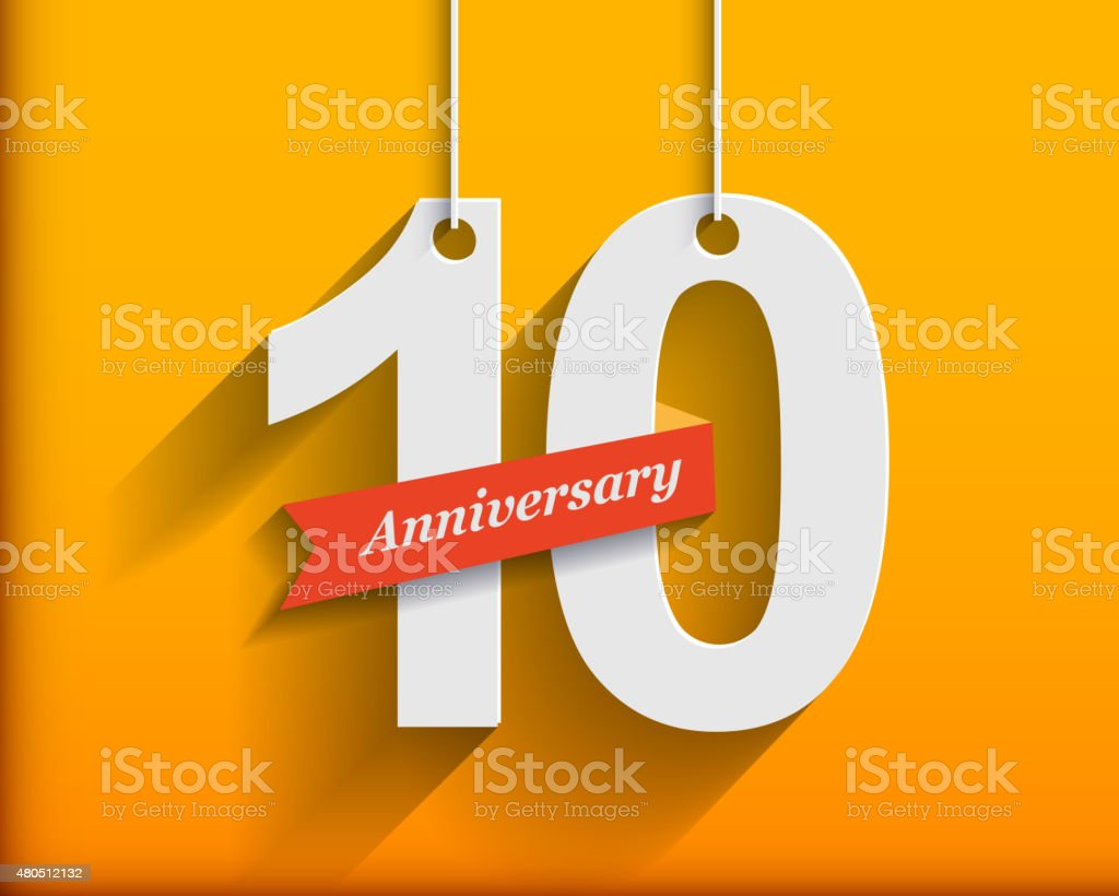 10 Anniversary numbers with ribbon. Flat origami stylen with lon vector art illustration