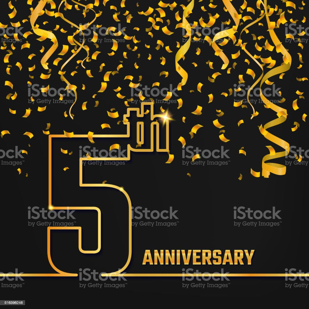 Anniversary Outline gold A vector art illustration