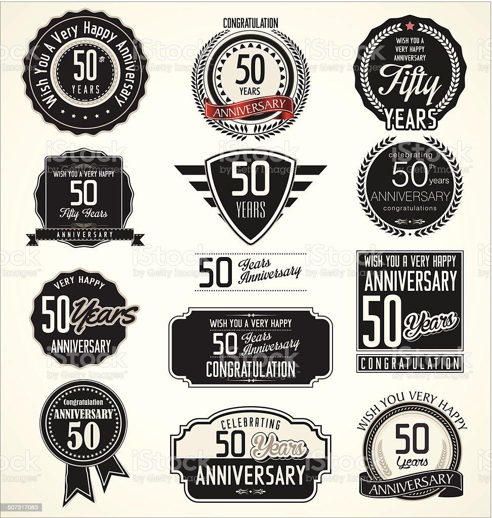 Anniversary retro labels vector art illustration