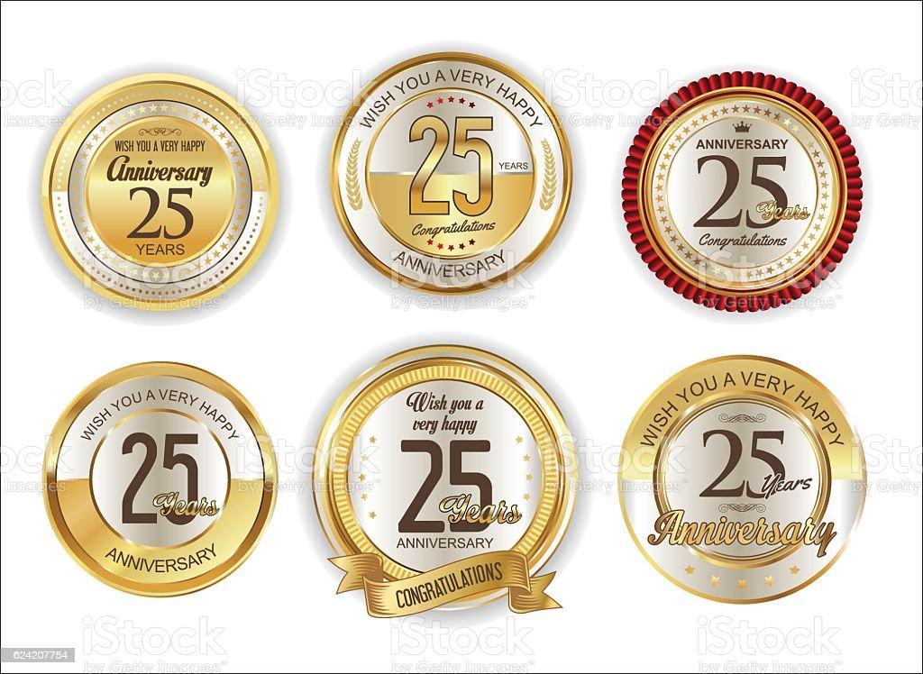 Anniversary retro vintage golden badges collection 25 years vector art illustration