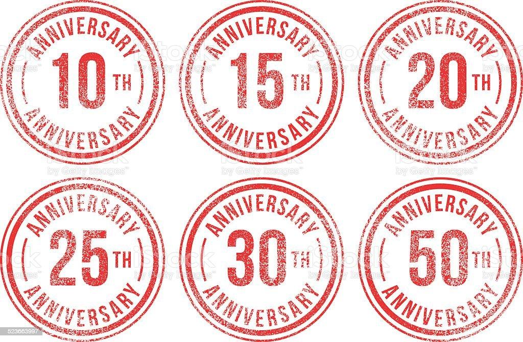 Anniversary rubber stamps vector art illustration