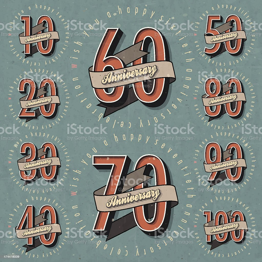Anniversary sign collection and cards design in retro style. royalty-free stock vector art