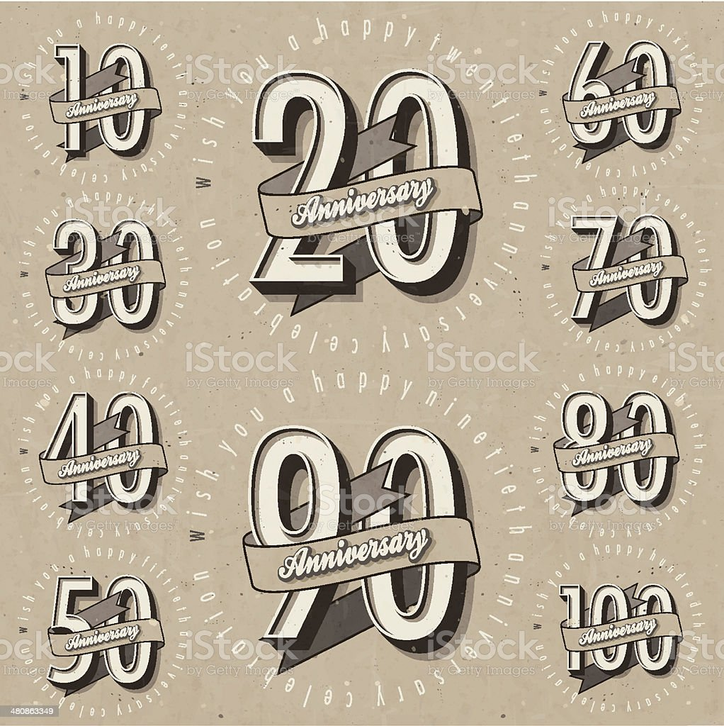 Anniversary sign collection and cards design in retro style. vector art illustration