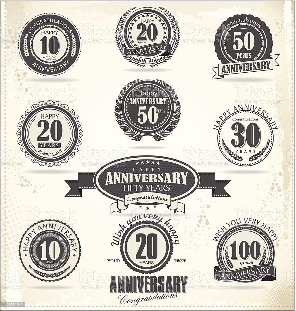 Anniversary sign collection, retro design vector art illustration