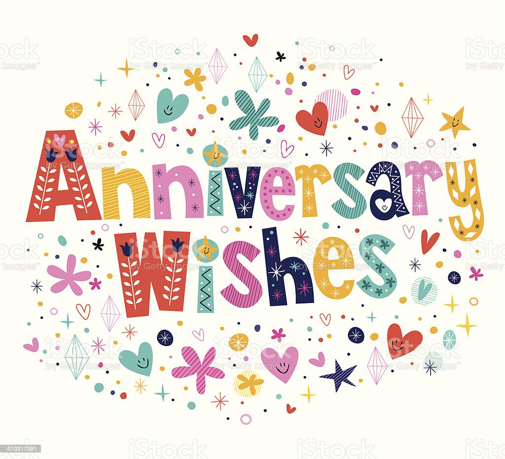 Anniversary wishes vector art illustration