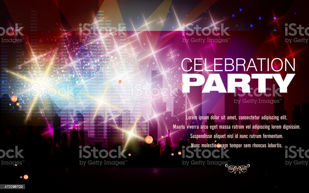 Announcement for a party with glitzy party night scene vector art illustration