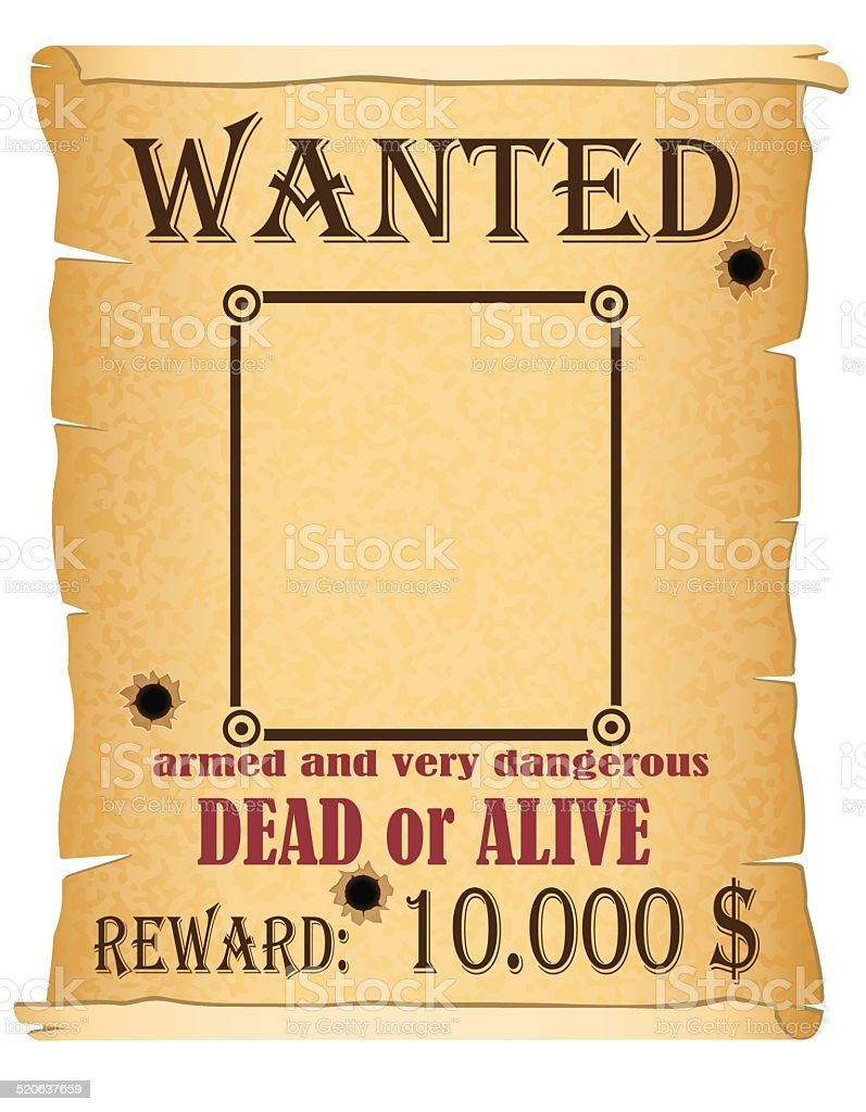 Announcement Wanted Criminal Poster Vector Illustration stock – Wanted Criminal Poster