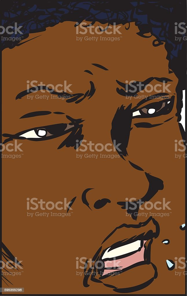Annoyed Close up Face vector art illustration