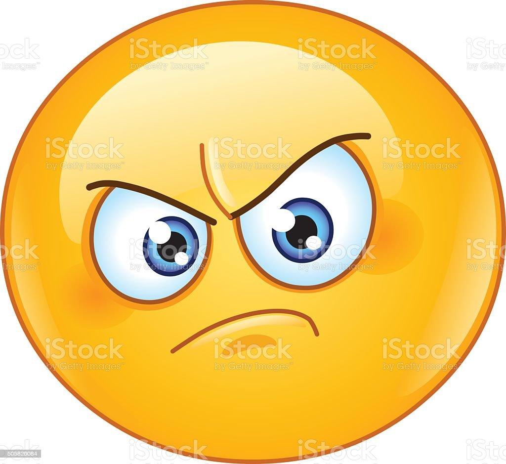 Annoyed emoticon vector art illustration
