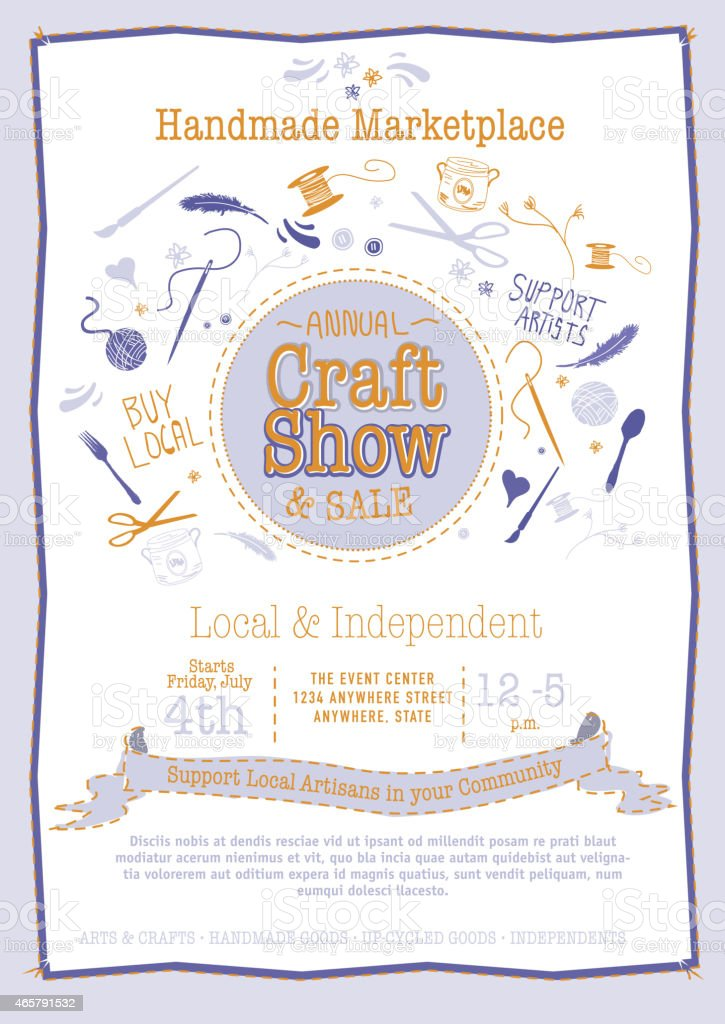Annual Craft Show Sale Poster Invitation blue and orange colors vector art illustration