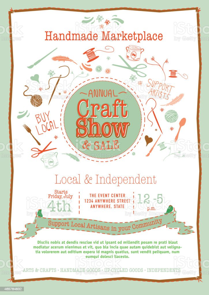 Annual Craft Show  Sale Poster Invitation orange and greens vector art illustration