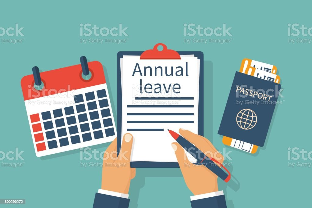 Annual leave vector vector art illustration