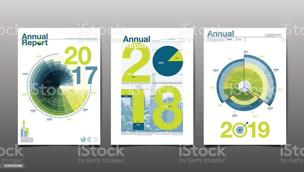 annual report 2017,2018,2019,future vector art illustration