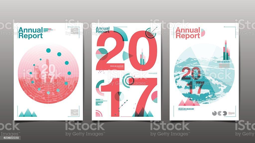 annual report 2017 x3 vector art illustration
