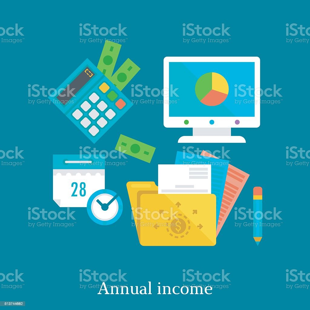 Annual report and income flat illustration concept. vector art illustration