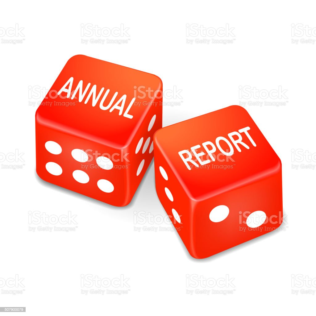 annual report words on two red dice vector art illustration