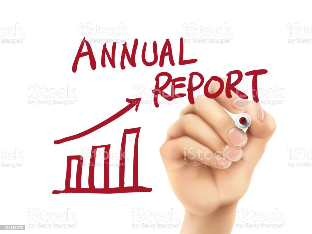 annual report words written by hand vector art illustration