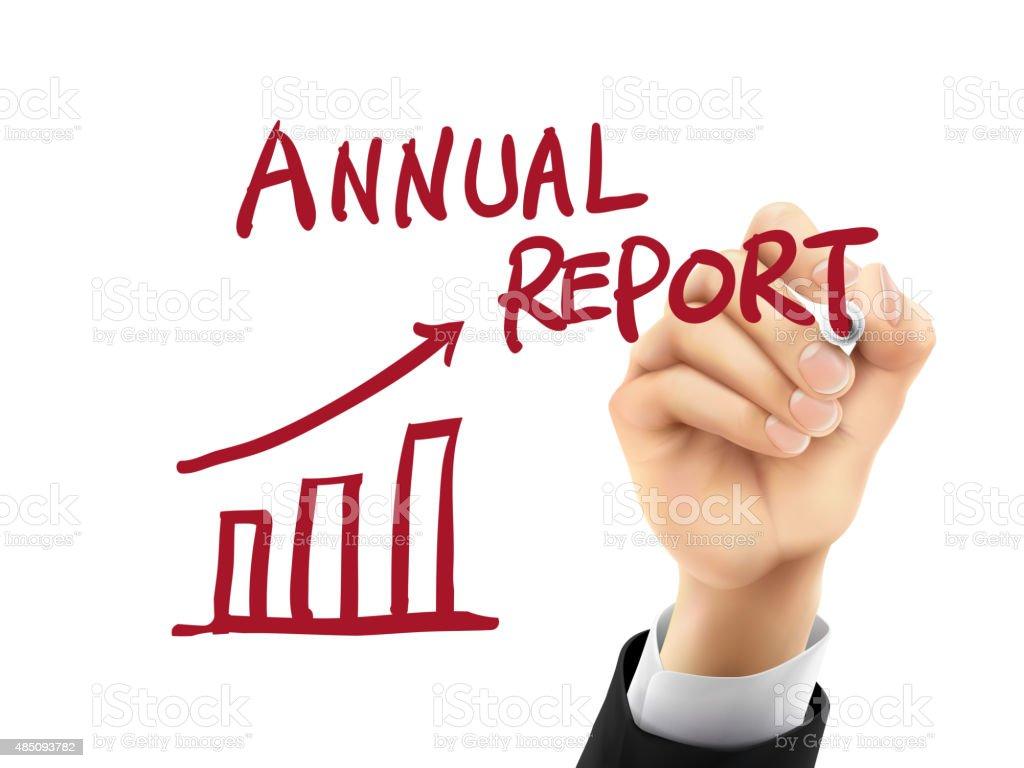 annual report written by 3d hand vector art illustration
