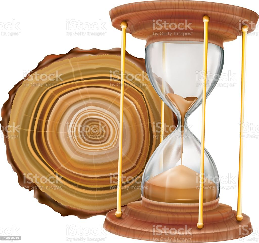 Annual tree rings and hourglass vector art illustration
