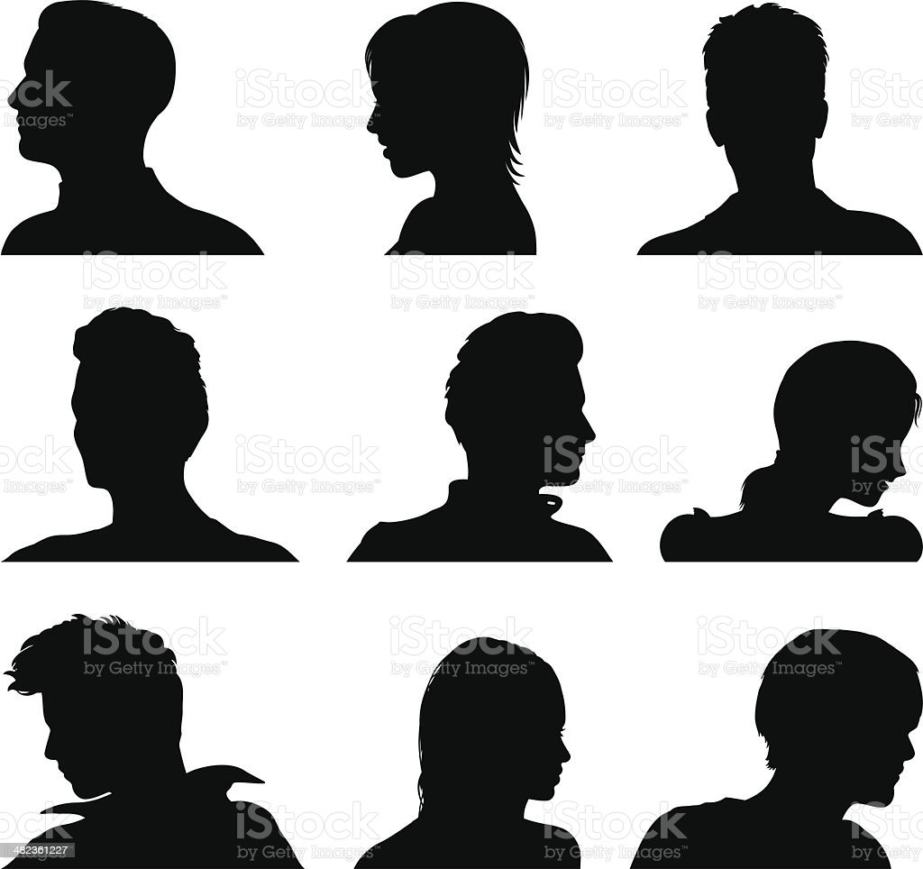 Anonymous avatar set vector art illustration