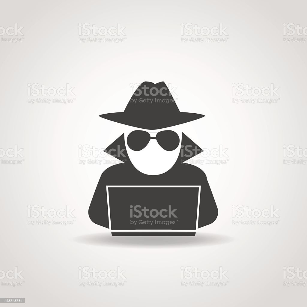 Anonymous Computer Icon vector art illustration