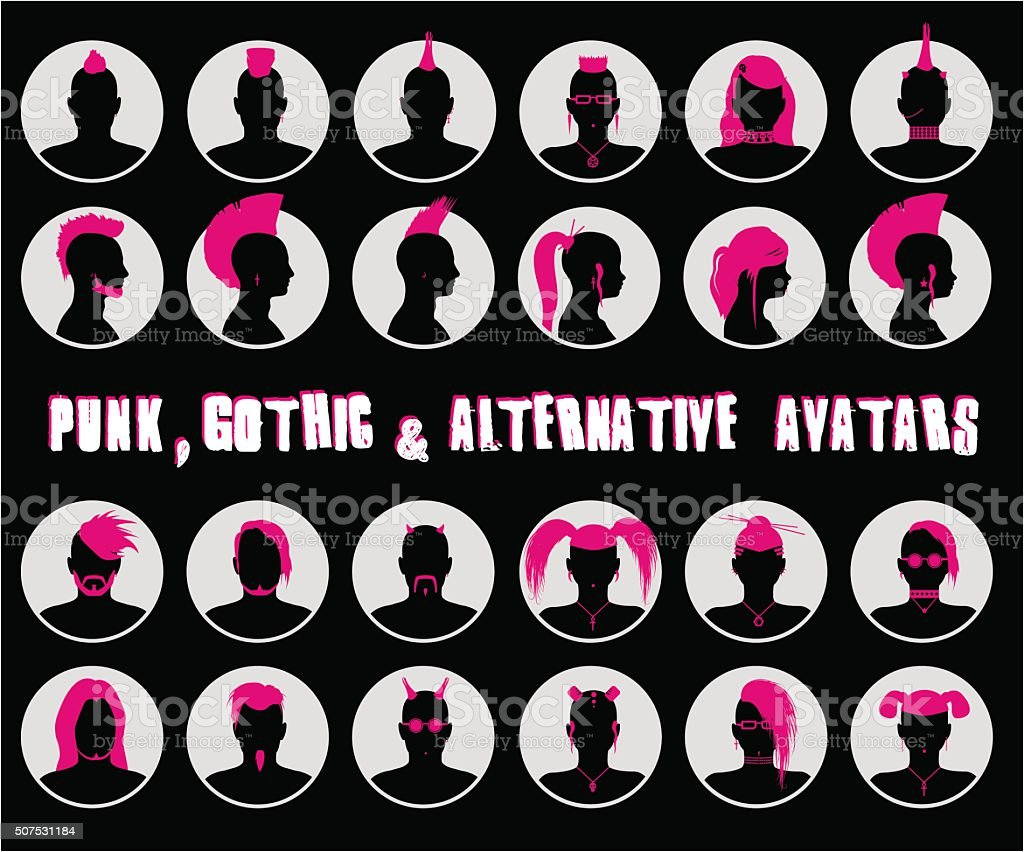 Anonymous Goth, Punk and Alternative Avatars vector art illustration